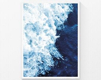 Poster Print, Sea Print, Sea Wall Art, Ocean Waves Print, Sea art, Ocean Print, Beach decor, Ocean Art, blue art, blue print, blue wall art
