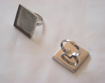 2 Pcs. #STAINLESS STEEL RING Blanks, with bezel. Square 2.5x2.5cm (0.98x0.98inches). #Bezel base rings.#Bezel setings,#Bezel Components.