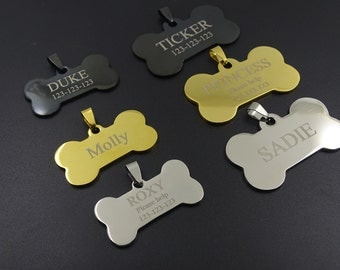 Personalized Custom Hight Quality, Solid Stainless Steel Bone Shape Dog ID Tag