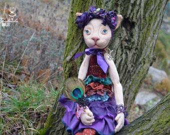 Mrs Catty - OOak doll - textile doll- fabric doll- rag doll- home decoration- handmade toy- handmade doll