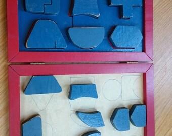 Vintage Wood Puzzle/Red Wooden Box/Vintage Wood Toys/Puzzle Pieces/Nursery Decor