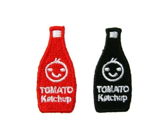 Set of 2 pcs Tomato Katchup Appliques Embroidered Patch Iron On
