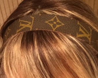 Louis Vuitton headband made from authentic Louis Vuitton canvas, black  elastic... Logo placement may very with each piece