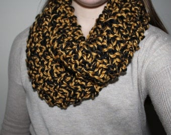 Black and Gold Knit Infinity Scarf