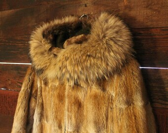 Vintage Wolf Fur Coat Alaskan David Green Hood