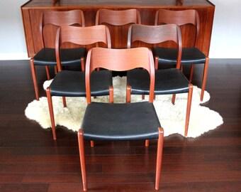 Set of 6 Danish Modern Mid Century Teak Dining Chairs by J.L. Møller Model 71