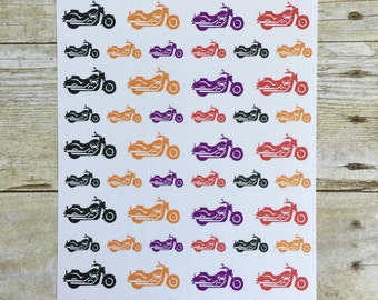 Motorcycle Planner Stickers 50 Stickers of Black Orange Purple and Red Bikes F283