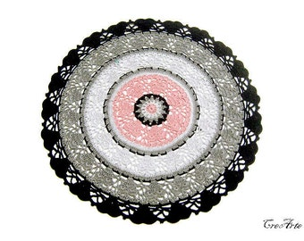 Colorful Crochet Doily, Black, Gray and Pink Doily, Round Doily, Centrino Rotondo (Cod. 83)