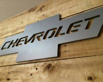 Chevrolet Checy truck Man Cave Rustic Pallet wood Sign with faux metal logo hand made