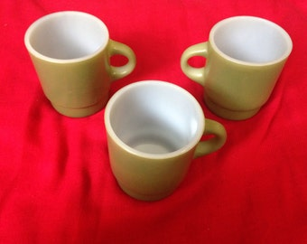 3 fireking green mugs