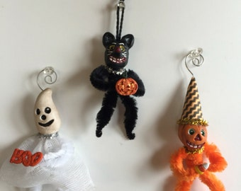 Set of 3 Halloween Clay Ornaments/Decorations