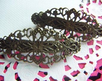 Bronze Hair Barrette Hair Clips Filigree Flower Pinch 35x80mm Set of 2 pcs  Hair Clip Findings DIY