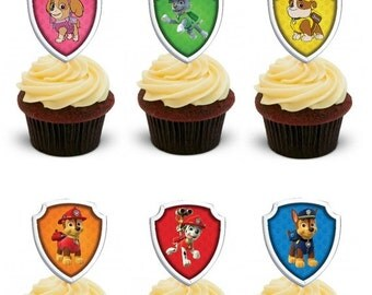 ON SALE Paw Patrol cupcake toppers- party circles- favor tags