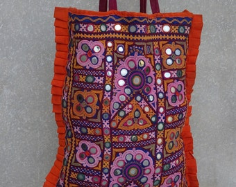 Vintage Banjara Bag, Embroidered Handbag, Gypsy Purse, Kuchi, Hobo Bag, Tribal Bag, Large Tote, Beaded Mirrored BY artisanofrajasthan 32