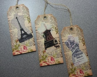 SIX (2 of ea design) of Vintage Cabbage Rose Eiffel Tower Windmill Hang Tags / Gift Tags
