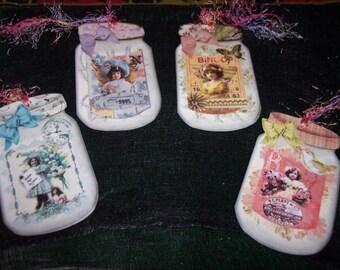 FOUR Large Vintage Fairy Mason Jar Hang tags / Gift Tags