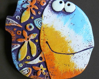 "Shaped ceramic magnet ""Flower Fish"""