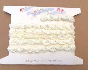 cream rosebud and pearl trimming. pearl and rosebud ribbon trim. wedding rose and pearl trim.