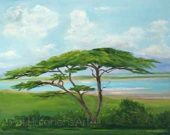 """Gift,African Landscape/ Paintings of Africa """"The Lone Acacia-Framed """" Africa/"""