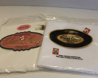 NEW 2 Counted Cross Stitch Bread Cover Cloths - White and Cream