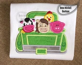 Farm Animals Truck embroidered Infant Bodysuit, Embroidered Toddler T-shirt, Embroidered T-shirt, Baby Shower Gift