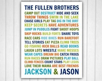Brothers Wall Art, Brother Art, Brothers Art, Brother Decor, Brother Art, Digital Art, Customizable Sibling Art, Customizable