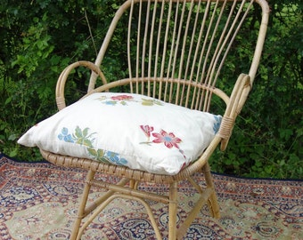 Retro 1960's Cane Chair, Vintage Cane Balcony Chair, Cane Bedroom Chair