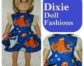 """Dixie-crafted Under the Sea Dress to fit 18"""" Dolls including those from the American Girl Doll Clothes Company"""