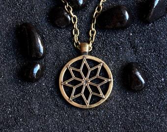 Slavic Sun (Alatyr-Star) big : Bronze Handmade Pendant with chain