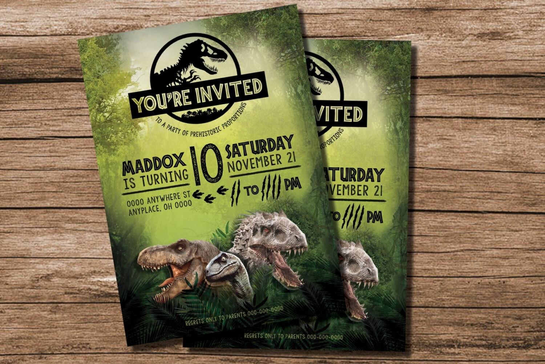 Jurassic World Birthday Invitation Jurassic World Party