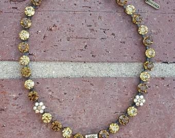 Crystal Necklace -Women's Necklace- Topaz Necklace-  Round Crystal Necklace- Designer Necklace