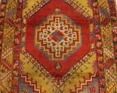 """Antique Rug Carpet, Vintage Rug Carpet, Handmade Rug Carpet, Decorative Red Turkish Rug Carpet, Home Decor Rug Carpet, 170x108cm,68""""x43"""""""