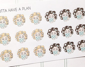 Planner Stickers Hand Drawn Coffee Girl Hair Rollers for Erin Condren, Happy Planner, Filofax, Scrapbooking