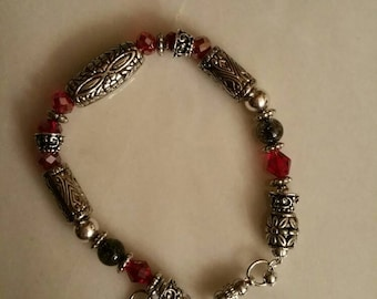 Valentines day inspired, silver and cherry red beaded bracelet of faith