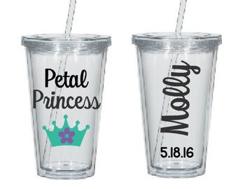 Flower Girl Gift- Petal Princess Cup- Flower Girl Cup- Flower Girl Tumbler- Bridal Party Tumblers- Jr. Bridesmaid Gift