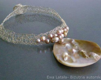 "Silver lacy pearl necklace   ""Ocean""- handmade designer jewellery.The beautiful necklace of pearls.Special and unique, decorative."