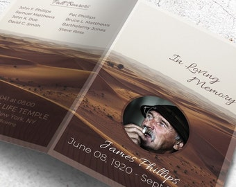 Funeral Memorial Program Template | Order of Service | Memorial Program | Obituary | Funeral Brochure | Editable with MS Word | The Desert