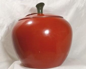 Vintage 60s Red Apple Aluminum Canister Mid Century Cookie Jar