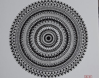 Mandala Screen Print, called 'Moving'