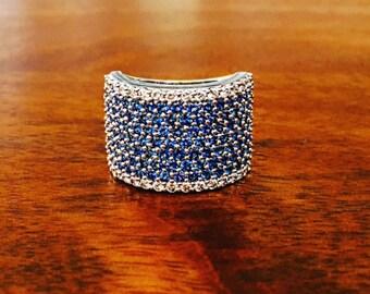 Blue Sapphire & Diamond Ring  / FREE SHIPPING!