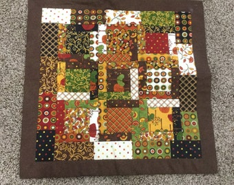 Quilted Festive Table Topper in the Colors of Autumn - heat resistant