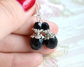 Black Bridesmaid Jewelry Bridesmaid earrings Black and silver wedding jewelry Bridesmaid Gift Black Vintage weddings Goth wedding
