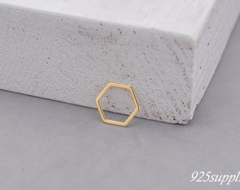 925 Sterling Silver hexagon gold plated, silver hexagon, hexagon pendant, hexagon charms, little hexagon, hexagon outline, narrow, geometric