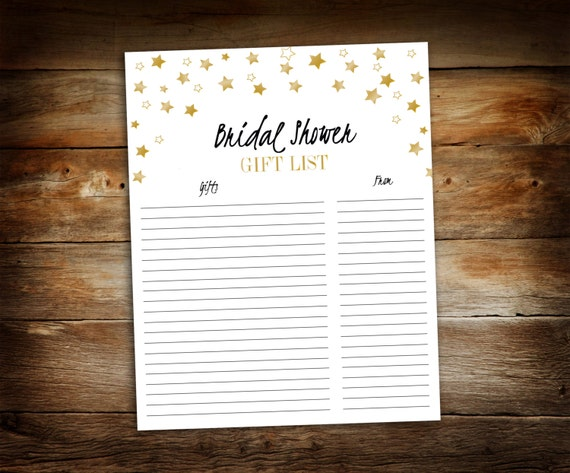 Wedding Gift List Checklist: Bridal Shower Gift List List Of Received Gifts Wedding