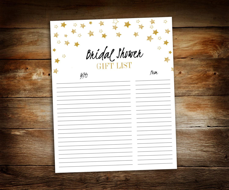 Wedding Gift Received List : Bridal Shower Gift List List of Received Gifts Wedding