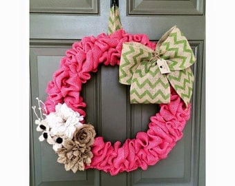 Summer Burlap Wreath, Summer Wreath, Spring Wreath, Pink Burlap Wreath, Rustic Burlap Wreath, Rustic Wreath, Everyday Wreath, Chevron Wreath