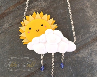 Cute sun and his cloud necklace