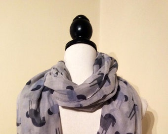Horse scarf, horse gift, horse print scarf, grey horse animal scarf, ladies fashion scarf, trending item, gifts under, equestrian gift.