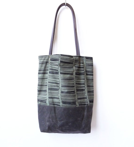 Hand Printed Waxed Canvas Tote - Rectangle Stacks