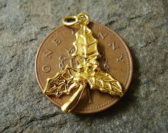 9ct Gold CHRISTMAS  HOLLY charm